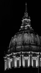 faith in the system (pbo31) Tags: sanfrancisco california nikon d810 blackandwhite monochrome night dark black january 2020 boury pbo31 city urban winter latenight cityhall architecture dome civiccenter panorama large stitched panoramic government trial president constitution politics