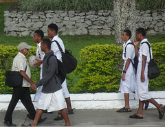 Students on the Way Home (mikecogh) Tags: suva fiji students schoolboys uniforms sandals casual sarongs