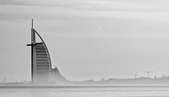 Hazy Start... (Aleem Yousaf) Tags: haze morning start palm burj arab sail jumeirah beach hotel modern architecture luxury holidays travel nikon nikkor 70200mm telephoto rising desert mist mono tones soft graduated filter water front uae united emirates real estate skyscraper flickr world smooth glass steel walk photography d850