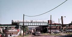 CTA Ravenswood at Milwaukee Rd tracks Aug73 (jsmatlak) Tags: chicago milwaukeeroad l cta train railroad subway metro rapid transit electric