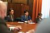 Diego Gago en la reunión con los sindicatos de la UGT y CC.OO. acerca del expediente de extinción de empleo de la empresa Alcoa, presentado para las plantas de Avilés y A Coruña. (22/01/2020)