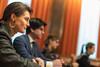 Valentina Martínez en la reunión con los sindicatos de la UGT y CC.OO. acerca del expediente de extinción de empleo de la empresa Alcoa, presentado para las plantas de Avilés y A Coruña. (22/01/2020)