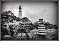 Portland Head Light (pandt) Tags: maine coast portland portlandheadlight lighthouse ocean sea coastal outside outdoors monochrome blackandwhite flickr canon eos slr rebel t1i 1785 rocks tower cairn stack