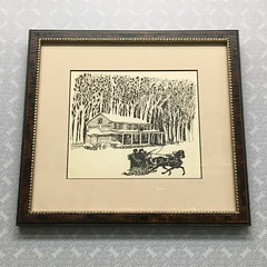"""This quaint """"Valley Green"""" image found a new archival home in a faux tortoise shell custom frame from Larson Juhl's """"Whitman"""" line. (Custom Picture Framer LLC) Tags: 19038 archivalframing customframing custompictureframer fow fowissahickon horse keswickvillage keswickvillagerocks larsonjuhl philadelphia phillyframing shopglenside sleigh sleighride truevue truvue valleygreen wissahickon"""