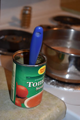 American Beauty Brand Soup Can. (dccradio) Tags: lumberton nc northcarolina robesoncounty indoor indoors inside food eat lunch dinner supper meal nikon d3500 dslr tuesday evening tuesdayevening january goodevening winterfood can soupcan spoon bluespoon americanbeauty stove