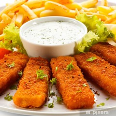 Fried fish fingers, French fries and vegetables (czarslounge) Tags: food fish dinner finger fingers fried vegetables french lunch salad dish frenchfries fresh chips fries dining dine filet orange white lemon healthy eating plate meat delicious carrot carrots garnish prepared square sticks potatoes natural background vegetable lettuce potato seafood appetizer appetizing nutrient sauce