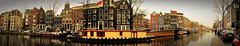 Amsterdam Princengracht (Clare-White) Tags: panarama pan canal water buildings amsterdam street houseboats boats windows dutch trees nikon reflection