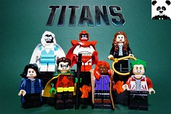 TITANS (HaphazardPanda) Tags: lego figs fig figures figure minifigs minifig minifigures minifigure purist purists character characters comics comic book books story group super hero heroes superhero superheroes dc justice league villains titans dove hawk donna troy raven robin starfire beast boy batman doom patrol dick grayson jason todd gar logan kory anders rachel roth dawn granger hank hall