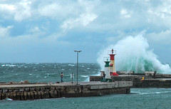 Rough Weather Fishing (david.gill12) Tags: swells waves lighthouse anglers storm sea harbour walls clouds