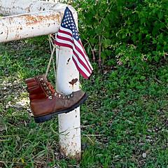 Boot and American Flag, D'Hanis, Texas (500x500) (WWI Bob) Tags: flag americanflag american boot memorial dhanis texas gx85 500x500