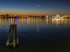 Penns Landing Quater Moon (dweible1109) Tags: morningsky morning water river skyscape skyline sky scenic landscape cellphonephoto iphone magichour sunrise delawareriver pennsylvania philadelphia pennslanding
