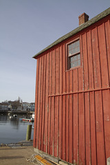 Front of the Motif (brucetopher) Tags: red wall fishshack building siding window light southeast motif motif1 motifno1 motifnumberone motifnumber1 one 1 shack shed lobstershack lobster harbor fisherman lobsterman house architecture newengland rockport rockportharbor
