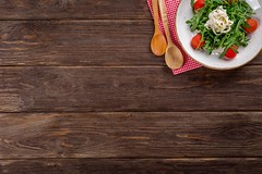 Table on wooden plank - Credit to https://homegets.com/ (davidstewartgets) Tags: appetizer dark delicious dining dinner dish floor food gourmet greens healthy high angle shot meal mockup nutrition olives pepper plate retro salt spices spoons surface table tasty texture tomatoes vintage wall wood wooden