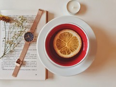 Photo of tea cup beside watch - Credit to https://homegets.com/ (davidstewartgets) Tags: book candle cup delicious drink health hot indoors mug porcelain saucer serbia still life tea watch