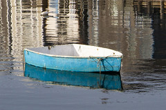 Blue Skiff (brucetopher) Tags: boat blue skiff water float floating harbor reflection small