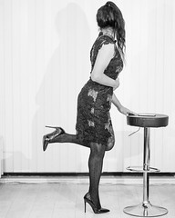 ⬛⚪⬛⚪⬛ (Natassia Crystal) Tags: tgirl transgender crossdresser crossdress crossdressing transvestite travestiet tg tv cd natassiacrystal natassia crystal natcrys nat crys tassia highheels stilettoheels blackandwhite polkadot tights hosiery pantyhose indoor instagram onelegstand nomakeup