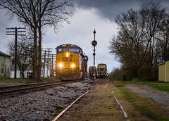 Q574 @ Butlerville (WillJordanPhoto) Tags: csx cpl transportation train railroad signal rain indiana subdivision