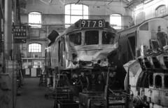 Crash damaged Class 25 7619 {25269} awaiting repair at Derby Works 24/02/1974. (flashbangmilly) Tags: 7619 25269 derby crash damaged 1974 cl25 br works