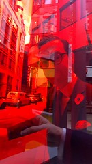 2019-11-10: Through Red Glass (psyxjaw) Tags: london londonist remembrance sunday november walk art colour glass blocks city cityoflondon