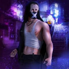 Rowan (ButterCup Arcana) Tags: second life photography photos hoodie mask dark neon grunge sexy man male tank alley