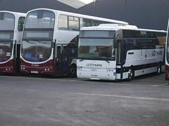 Lothian Volvo B7TL Wright Eclipse Gemini  SN55BJY and Lothian Motorcoaches Volvo B12B Van hool YSL699 9058 lying, presumably awaiting sale, at Seafield on 22 January 2020. (Robin Dickson 1) Tags: sn55bjy volvob7tl wrighteclipsegemini lothianbuses lothian lothianmotorcoaches chalfontofsouthall volvob12b vanhool ysl699 wa57jzt