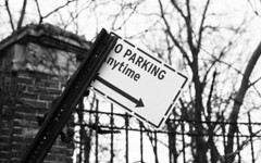 Little Street (neilsonabeel) Tags: fujicast801 fujica fuginon 55mm blackandwhite sign brooklyn newyorkcity street m42