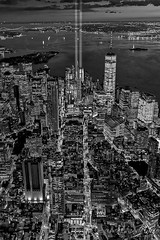 New York City Remembers September 11 - BW (Susan Candelario) Tags: batterypark freedomtower hudsonriver ladyliberty libertystatepark lowermanhattan manhattan ny nyc nycskyline newyork newyorkcity newyorkcityskyline northamerica oneworldtradecenter september11 september11th susancandelario unitedstates verrazanonarrowsbridge worldtradecenter bluehour cityscape cityscapes dusk evening illuminated lights lit memorial midtown midtownmanhattan night nighttime skyline skylines statueofliberty sunset sunsets tribute twilight urban urbanlandscape