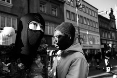 Mask (notaflag) Tags: streettrader mask mannequin candid lightandshadow leeds streetphotography blackandwhite