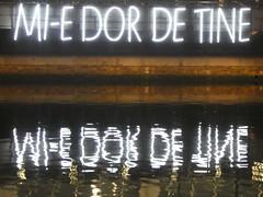 UK - London - Isle of Dogs - Canary Wharf - Winter Lights Festival - Mi-e-dor de tine (JulesFoto) Tags: uk england london winterlightsfestival canarywharf lightinstallations sign signage reflection