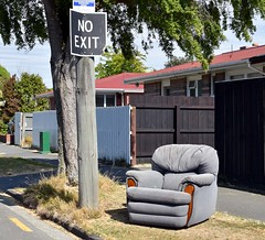 No exit (stephen trinder) Tags: stephentrinder stephentrinderphotography aotearoa christchurch christchurchnewzealand godzone kiwi landscape newzealand nz seating seats fence sunlight noexit sign funny chair
