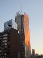 2020 January Evening Light New York Times Building 4606 (Brechtbug) Tags: 2020 evening light new york times building afternoon day clock cloudless 01222020 above hells kitchen clinton architecture skylines sunlight nyc skyline city art scape cityscape winter weather blue sky