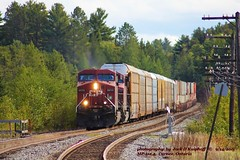 CP 8613-9545, wb, Cartier, ONT. 9-14-2011 (jackdk) Tags: train railroad railway locomotive ge gelocomotive gec449w c449w c44 cp cpr canadianpacific mp1124 cartier cartiersub cartierontario racktrain jackmp2945 jackmp294 jack cp8613 8613