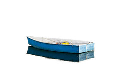 Skiff (brucetopher) Tags: blue skiff boat isolated highkey