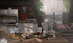 Breakfast is served ♥ (Trixie Lanley) Tags: kustom9 thor foodcourt secondspaces collabor88 c88 nutmeg merak floorplan gacha sl secondlife kitchen cabin rustic decor