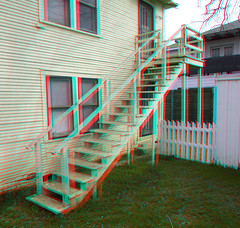 214 W. NEELY STREET DALLAS TEXAS FORMER HOME OF LEE HARVEY OSWALD FAMOUS STAIRCASE WHERE HE POISED WITH RIFLE 3D RED CYAN ANAGYLPH (REDFURD) Tags: 214 neely street dallas texas assassin lee harvey oswald home historical 3d stereo red cyan anagylph