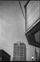 looking up, marquee, Fine Arts Theater, dusk, downtown, Asheville, NC, Pentax Spotomatic, Super Takumar 50mm f-1.4, FPP Derev Pan 400, HC-110 developer, 1.17.20 (1 of 1) (steve aimone) Tags: lookingup marquee fineartstheater dusk asheville northcarolina pentaxspotomatic supertakumar50mmf14 fppderevpan400 hc110developer 35mm 35mmfilm film blackandwhite monochrome monochromatic architecture architecturalforms