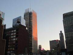 2020 January Evening Light New York Times Building 4638 (Brechtbug) Tags: 2020 evening light new york times building afternoon day clock cloudless 01222020 above hells kitchen clinton architecture skylines sunlight nyc skyline city art scape cityscape winter weather blue sky