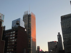 2020 January Evening Light New York Times Building 4637 (Brechtbug) Tags: 2020 evening light new york times building afternoon day clock cloudless 01222020 above hells kitchen clinton architecture skylines sunlight nyc skyline city art scape cityscape winter weather blue sky