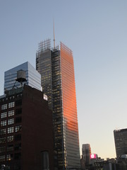 2020 January Evening Light New York Times Building 4635 (Brechtbug) Tags: 2020 evening light new york times building afternoon day clock cloudless 01222020 above hells kitchen clinton architecture skylines sunlight nyc skyline city art scape cityscape winter weather blue sky