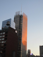 2020 January Evening Light New York Times Building 4621 (Brechtbug) Tags: 2020 evening light new york times building afternoon day clock cloudless 01222020 above hells kitchen clinton architecture skylines sunlight nyc skyline city art scape cityscape winter weather blue sky