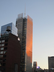2020 January Evening Light New York Times Building 4618 (Brechtbug) Tags: 2020 evening light new york times building afternoon day clock cloudless 01222020 above hells kitchen clinton architecture skylines sunlight nyc skyline city art scape cityscape winter weather blue sky
