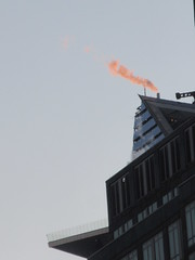 2019 January Orange Plume Balcony Hudson Yards Tower 4616 (Brechtbug) Tags: 2020 evening light new york times building afternoon day clock cloudless above hells kitchen clinton architecture skylines sunlight nyc skyline city art scape cityscape winter weather blue sky
