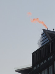 2019 January Orange Plume Balcony Hudson Yards Tower 4613 (Brechtbug) Tags: 2020 evening light new york times building afternoon day clock cloudless 01222020 above hells kitchen clinton architecture skylines sunlight nyc skyline city art scape cityscape winter weather blue sky