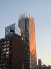 2020 January Evening Light New York Times Building 4607 (Brechtbug) Tags: 2020 evening light new york times building afternoon day clock cloudless 01222020 above hells kitchen clinton architecture skylines sunlight nyc skyline city art scape cityscape winter weather blue sky