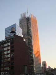 2020 January Evening Light New York Times Building 4605 (Brechtbug) Tags: 2020 evening light new york times building afternoon day clock cloudless 01222020 above hells kitchen clinton architecture skylines sunlight nyc skyline city art scape cityscape winter weather blue sky