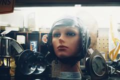 Fuji Xpro1. Olympus Zuiko 28mm f2.8. (ernestoregaldo) Tags: mannequin head aviatorhelmet leather helmet vintagehelmet antique woman olympus zuiko 28mm