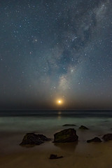Milky Way and Crescent Moon over the Sea (Merrillie) Tags: galaxy killcarebeach milkyway starry galacticcore stars crescentmoon astrophotography moon afterdark australia newsouthwales sea moonphases astrology starlight beach nightsky night centralcoast dark coastal skywatching sky beforedawn nightscape starlit killcare nighttime