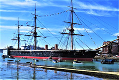 HMS Warrior,  English Warship from 19th Century. (moonjazz) Tags: ship england history navy hmswarrior masts famous unitedkingdom docckyard admiral nelson trafalgar portsmouth warship museum cannons maritime ironclad military travel daytrip