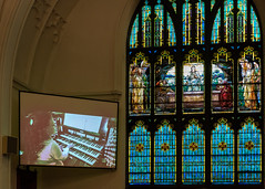 View of Organist and Tiffany Window (janedsh) Tags: tiffany wayne county louis comfort church reid memorial presbyterian richmond photo by jane holmanphotoscom indiana louiscomforttiffany photobyjane reidmemorialpresbyterianchurch waynecounty