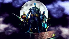 Meanwhile in Gotham City (custombase) Tags: dc universe classics figures batman robin batgirl bruce wayne barbra gordon tim drake gotham city moon diorama toyphotography caped crusader boy wonder dark knight